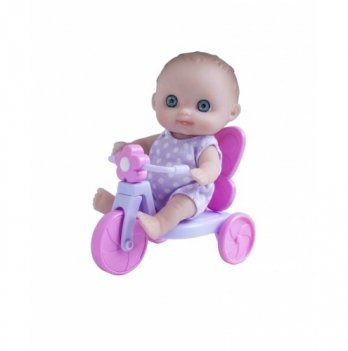 Пупс-малыш с велосипедом JC Toys, 13 см