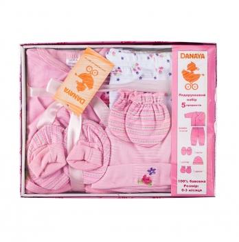 Набор для новорожденных из 5 предметов DANAYA 0-3 мес. розовый