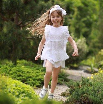 Комплект блуза, шорты, повязка для волос для девочки Dora Батист Белый КББ01 2-9 лет