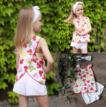 Комплект блуза, шорты, повязка для волос для девочки Dora Микки Маус фрукты Белый КФБ01 2-9 лет