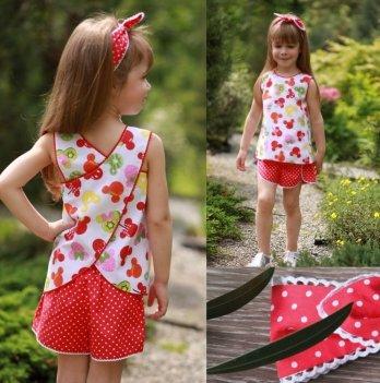 Комплект блуза, шорты, повязка для волос для девочки Dora Микки Маус фрукты Белый/Красный КФК01 2-9 лет