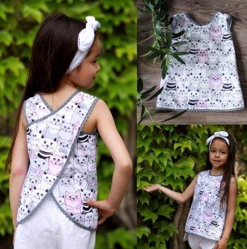 Комплект блуза, шорты, повязка для волос для девочки Dora Котик Розовый ККРБ01 2-9 лет