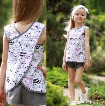 Комплект блуза, шорты, повязка для волос для девочки Dora Котик Розовый/Серый ККРС01 2-9 лет