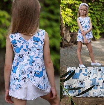 Комплект блуза, шорты, повязка для волос для девочки Dora Щенки и котята Голубой ККСБ01 2-9 лет