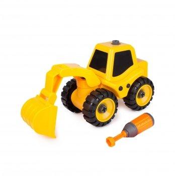 Разборная модель трактора с экскаваторной установкой Kaile Toys KL702-1 с отверткой