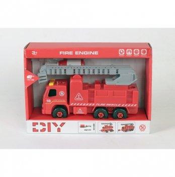 Разборная модель пожарной машины с лестницей Kaile Toys KL802-1 с отверткой