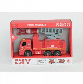 Разборная модель пожарной машины с подъемником Kaile Toys KL802-2 с отверткой