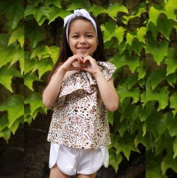Комплект блуза, шорты, повязка для волос для девочки Dora Леопард Коричневый КЛБ01 2-9 лет