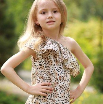Комплект блуза, шорты, повязка для волос для девочки Dora Леопард Коричневый КЛК01 2-9 лет