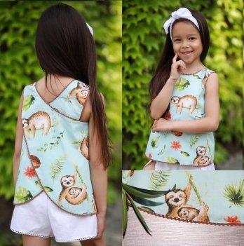 Комплект блуза, шорты, повязка для волос для девочки Dora Ленивцы Мятный КЛНБ01 2-9 лет