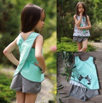 Комплект блуза, шорты, повязка для волос для девочки Dora Микки Маус и коты Мятный/Серый КММС01 2-9 лет