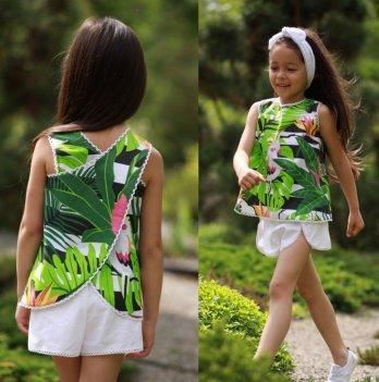 Комплект блуза, шорты, повязка для волос для девочки Dora Попугаи Зеленый КПБ01 2-9 лет