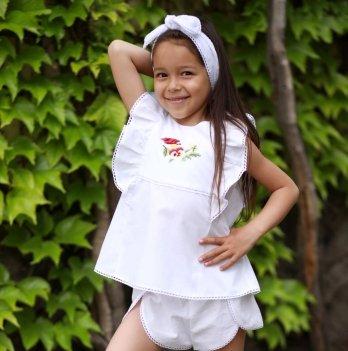 Комплект блуза, шорты, повязка для волос для девочки Dora Птичка Красный КПКБ01 2-9 лет