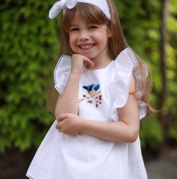 Комплект блуза, шорты, повязка для волос для девочки Dora Птичка Синий КПСБ01 2-9 лет