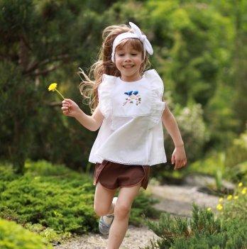 Комплект блуза, шорты, повязка для волос для девочки Dora Птичка Синий/Коричневый КПСК01 2-9 лет