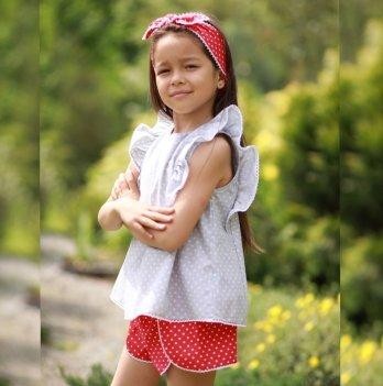 Комплект блуза, шорты, повязка для волос для девочки Dora Горошек Красный/Серый КСБК02 2-5 лет