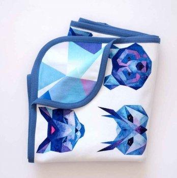 Плед двухнитка Абстракция Interkids 2712 синий 100х90 см