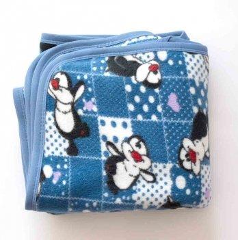 Плед флис Пингвины двойной Interkids 2729 синий 110х95 см