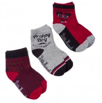 Носки для малышей Little Marcel черно-бордовые, 3 пары