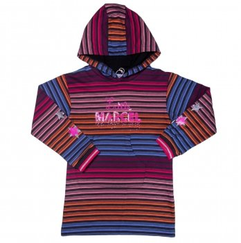 Платье с капюшоном для девочки Little Marcel в полоску