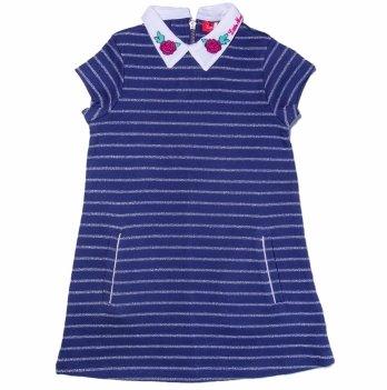 Платье с люрексом для девочки Little Marcel синее с полосами