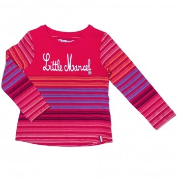 Реглан для девочки Little Marcel малиновый в полосы