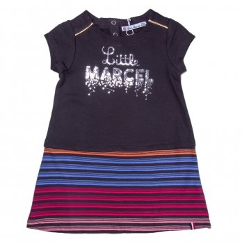Платье с пайетками для девочки Little Marcel черное