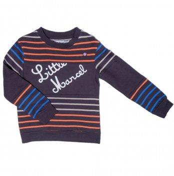 Свитшот для мальчика Little Marcel черный в полосы