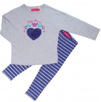 Комплект с лосинами для девочки Little Marcel серо-синий