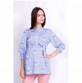 Блуза для беременных и кормящих мам Laura White Rabbit бело-синий