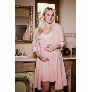 Ночная рубашка с халатом для беременных и кормящих Юла мама Maya Пудровый NW-3.1.4