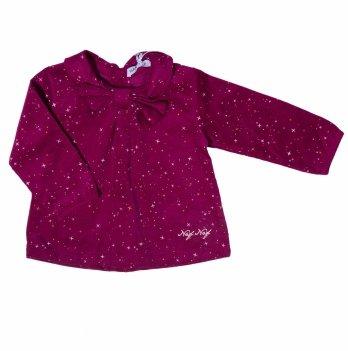 Блуза вельветовая для девочки Naf Naf вишневая в звезды