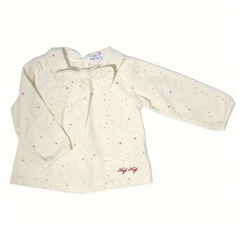 Блуза вельветовая для девочки Naf Naf молочная в звезды