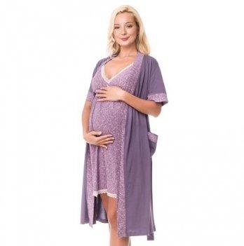 Комплект для беременных и кормящих мам DISSANNA ночная сорочка и халат, 1231/2172