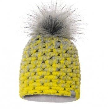 Зимняя шерстяная шапка для девочки Broel, возраст от 1,5 до 2 лет, желтая