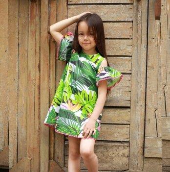 Платье для девочки Dora Попугаи Зеленый ППГ01 2-9 лет