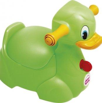 Детский горшок OkBaby Quack с ручками для безопасности ребенка, салатовый
