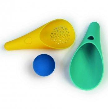 Игровой набор для песка и снега Quut, CUPPI, два совка и мячик (зеленый и желтый совочки + синий мячик)
