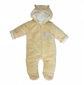 Комбинезон для новорожденных утепленный, Lucky tots, Клевер, песочный