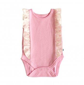 Боди Lucky tots розовый с молочными рюшами