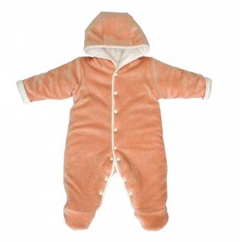 Комбинезон для новорожденных утепленный, Lucky tots, велюровый, персиковый