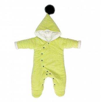 Комбинезон для новорожденных утепленный, Lucky tots, велюровый, оливковый