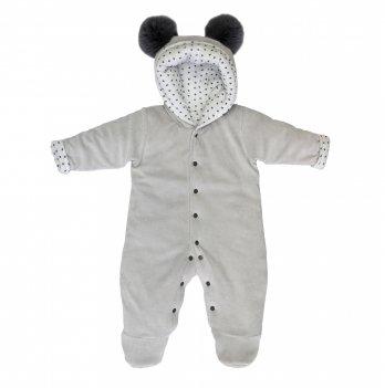 Комбинезон для новорожденных утепленный, Lucky tots, велюровый, серый