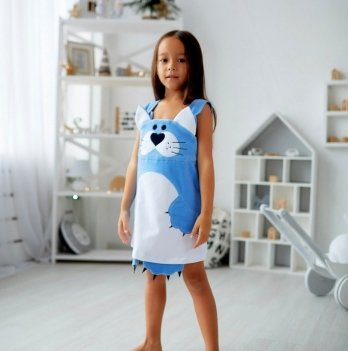 Сарафан для девочки Dora Кошечка голубой
