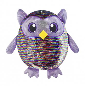 Мягкая игрушка с пайетками Shimmeez, Яркая сова, 36 см