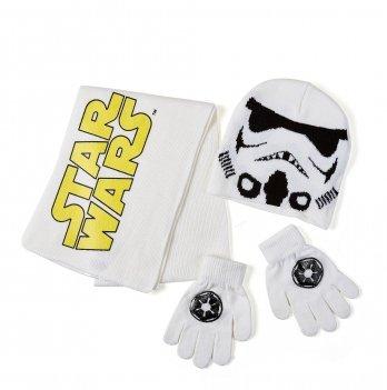 Комплект: шапка, шарф, перчатки Arditex, Star Wars (Звездные войны) белый