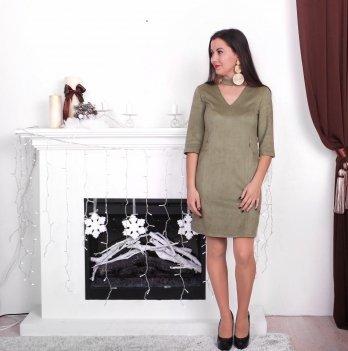 Платье для беременных и кормящих мам из замши Lullababe Toronto Оливковый