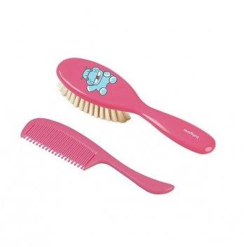 Расческа и гребешок для волос, BabyOno из натуральной щетины, 568, розовые