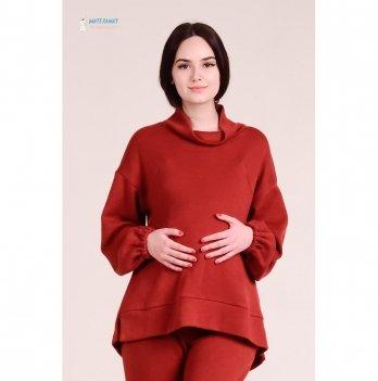 Теплый свитер для беременных и кормящих White Rabbit Terra, терракотовый
