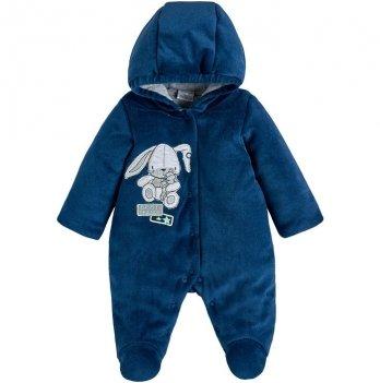 Велюровый комбинезон для мальчика Garden baby Happy Синий 3-9 мес 12109-01/32